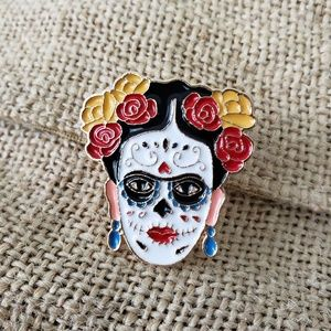 Jewelry - {5/$25} Day of the Dead Frida Kahlo pin